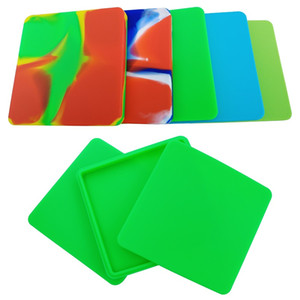 MOQ=1PC Big Square 200ml Pizza Box Nonstick Silicone Jars Dabs Wax container Large Silicone Concentrate Container Wax Jars Dishes