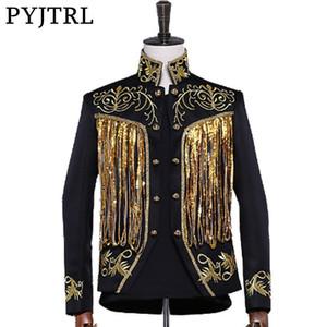 Pyjtrl мужская золотая серебряная блестящая кисточка блестки вышивка двубортный этап певица пиджак мужчины Slim Fit пиджак конструкций Y190417