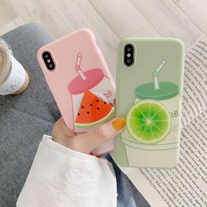 Carrinho de fruta iPhoneXsMax caso de telefone frutas de verão para a Apple TPU 7/8 melancia anti-queda estojo