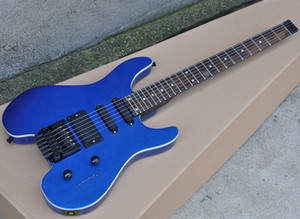 Metallic blue headless electric guitar with floyd rose,24 frets,rosewood fretboard,can be customized as request