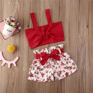 80-120 çocuk bebek kız şort iki parçalı çiçek çiçekler giyim seti kırpma tankı yelekleri + kemer yay şort set eşofman plaj partisi Bezi D6416