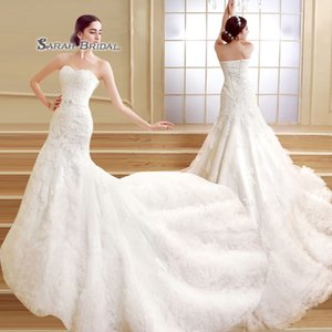 2019 White Elegant Bridal Party Dresses Sweetheart Ruffled Tulle Lace Sleeveless Lace Up Mermaid Wedding Dress ZCL04