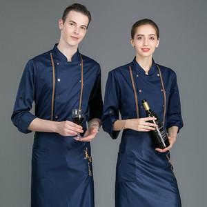 Unisex Chef Jacket Blue Uniform Long Sleeves Restaurant Uniform Coat White Pliester Apron Summer Kitchen Ladies Mens Chef Shirts
