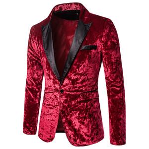 Мужчины моды красный велюровый костюм Blazer куртка свадьба этапа партии костюмы One Button сращивания Воротник Velvet фланель платье Blazer пальто
