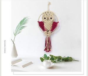 Corda de algodão de malha tapeçaria Criativa Coruja Bonito animais feitos à mão tapeçarias de Algodão de malha Coruja Pingente de Objetos Decorativos