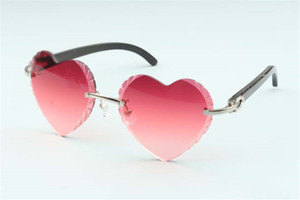 Direct sales high-quality new heart shaped cutting lens sunglasses 8300687, natural black buffalo horn temples size: 58-18-140 mm