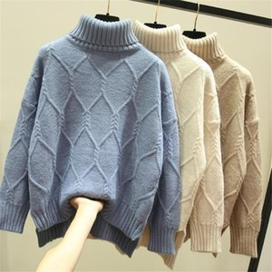 Le donne maglione Primavera Autunno inverno caldo casual dolcevita pullover solido semplice allentato Maglione Plus Size ponticello Sweter 35