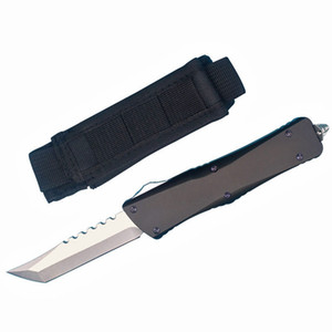 Factory Price DHL Shipping High End Hellhound Blade Auto Tactical Knife D2 Tanto Stone Washed Knife Aviation aluminum Handle EDC Gear