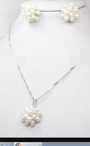 Jewelrymiss charme judeu.364 Moda Arroz Branco Natural Brincos De Aglomerado De Pérolas Naturais De Água Doce Conjunto De Anéis