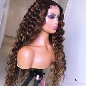 llena del cordón del frente del cordón 13x6 profunda humana Parte de pelucas de pelo rizado encaje frontal 360 destaca color Remy Pre desplumados Rubio brasileño peluca blanqueado