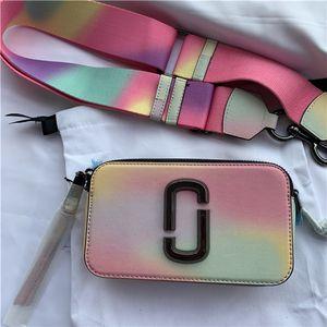 Couro Moda Mulheres da Carta Wide Color Alça de ombro saco bolsas diagonal pequeno quadrado saco bolsa de grife 19CM luxo bolsas