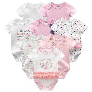 Baby Clothes 8Pcs set Cotton Newborn Boy Girl Romper 2019 Summer Short Sleeve Infant Clothing Animal Baby Pajama roupas de bebe T200706