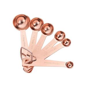 Из нержавеющей стали Измерение ложки набор роскошные розовые Золото измерительное совок набор кухни измерительный инструмент для выпечки аксессуары ZC0245