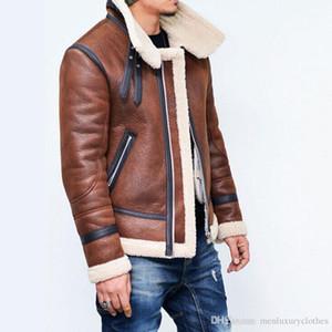 Windbreaker Jacket Coats inverno quente grossa homens de couro Casacos de lã gola Cashmear