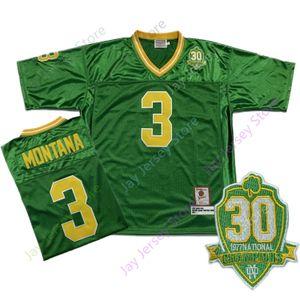 Joe Montana College Jersey NCAA Futebol Norte Dame Fighting Irish Jerseys Green 30th Patch Men Size S-3XL