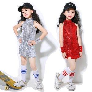 Mädchen Rot Silber Ballsaal Jazz Hip Hop-Tanz-Wettbewerb Kostüm-Stadiums-Tanz-Performance Wear