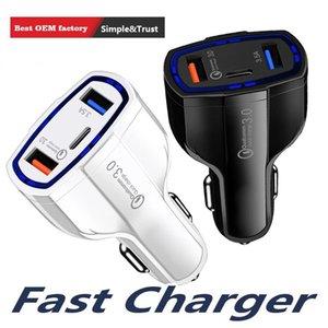 Top Quality QC3.0 Two USB e um do tipo C Porto carregador de carro rápido de carga de carro-carregador Dual USB Car Charger Mobile Phone