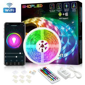 5050 RGB Wifi Controller LED Strip light 5M 30led m Neon Flexible Tape Ribbon Strip + Bluetooth Music Control + 12V Power Adapter