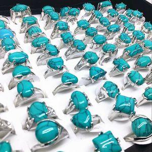 24pcs atacado pedra azul Vintage anéis estilos misturados forma bonita mulheres liga étnicos irregulares anel grosso lotes a granel