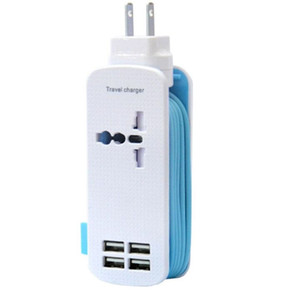 Travel Power Strip Surge Protector con 1 presa 4 Smart USB Porte 5V 4.2A Uscita portatile Multi-Port USB da viaggio