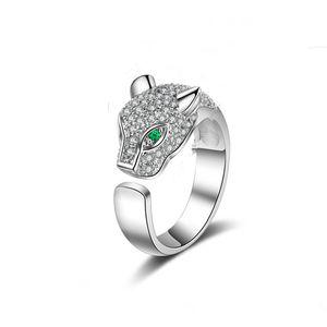 Anillo de cabeza de leopardo superior, moda Cabeza de leopardo Anillos de diamante Anillo de cabeza de animal Oro creativo rosa y joyería de plata Anillos de la banda