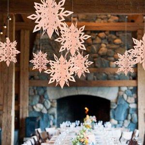 Copo de nieve Adorno Colgante Estereoscópico Tarjeta Colgante Decoración de Fiesta de Papel 6 Piezas Conjunto Año Nuevo Grande Navidad Colorido 6 5myC1