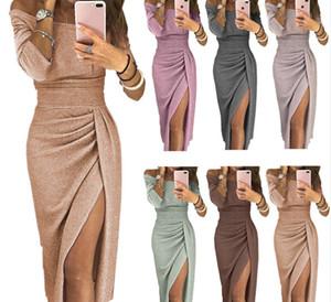 зимнее платье женщины сексуальный клуб блестящие щели push up Слэш шеи партии формальные длинные черный красный vestidos платья женщина