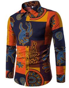 Shirt Designer di moda maschile camicia di lino Camicie Slim Fit turn-down manica lunga da uomo Mens Camicia hawaiana dimensioni Big dimensioni più 5XL