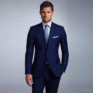 Последние дизайн две кнопки синий смокинги Groom Нотч groomsmen мужчины свадебные костюмы Пром костюм (куртка+брюки+галстук) нет:2075