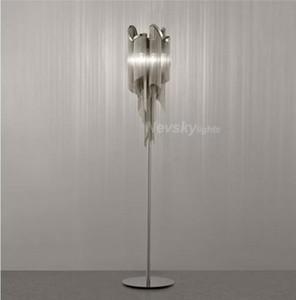 Modern silver decorative floor lamp for living room table lamp with glod fringe For bedroom Aluminum floor light for kitchen