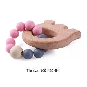 1pc Baby Teething Toys Cartoon Animal Baby Teether Bracelet Silicone Bead Wood Ring Nursing Toys Infant Chew Toy Holder Teether
