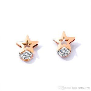 New trendy fashion luxury designer cute lovely star rose gold titanium simple elegant zircon diamond stud earrings for woman