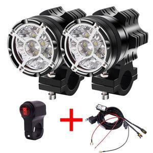 2 piezas motocicleta LED faro interruptor foco 90W 6500K blanco conducción trabajo luces de punto moto motos niebla DRL lámpara