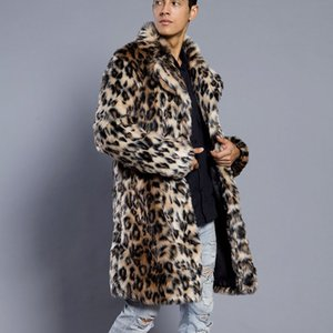 FeiTong chaqueta de hombre leopardo caliente grueso cuello de la piel capa de la chaqueta de piel falsa Parka Outwear Cardigan rompevientos hombres del invierno fz0388