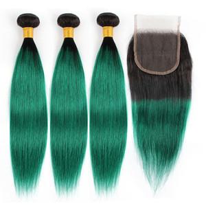BobbiHair 1B sedosos haces de pelo rectas verdes con cierre extensión remy brasileña del pelo humano 4 piezas por conjunto