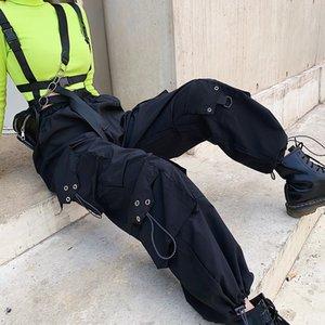 Women Black Cargo Pants Clothes Fashion Sexy Pant With Big Pocket Sport Trousers High Waist Vintage Sweatpants Streetwear P9060