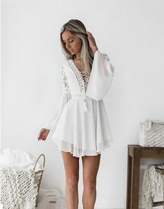 sólidos de mini ropa informal de encaje blanco de Bohemia las mini mujeres del vestido del resorte de la manera con cuello en V vestidos largos de la manga