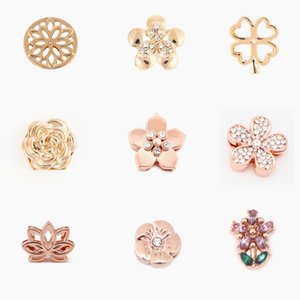 9pcs / Set Flower Slide Charms fit 10mm Keeper Meshador For Jewelry Making