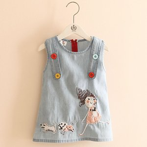 2020 Summer New Fashion Little Girl Embroidery Cartoon Dog Tank Vest Dresses With Buttons O-Neck Baby Girls Kids Denim Dress