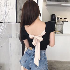 Kadınlar Seksi Geri Lace Up Bow Tişörtlü Bayanlar Yaka Kısa Kollu Moda Kadın İnce Katı Renk Backless Tees Tops Slash