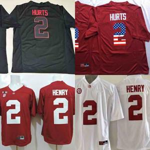 ألاباما قرمزي المد # 2 جالين يسىء تعتيم رمادي الأحمر علم الولايات المتحدة الأمريكية المحدودة الأبيض SEC تصحيح مخيط NCAA جيرسي