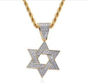 Новая европейская и американская мода личности Six Mang Star микро-циркон мужской ожерелье Дэвид Стар хип-хоп кулон аксессуары