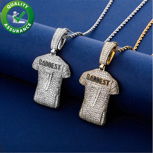 Mens Iced Out Hip Hop Chain Pendants Luxury Designer Necklace Gold Silver No. 7 jersey Pendant Charms Bling Diamond Stetement Accessories