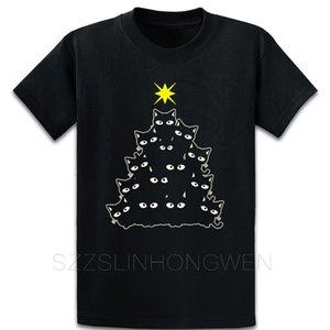 Christmas Cat Tree Black Kitty Black Cat Star Chri T Shirt Trend Building S-5xl Printing Tee Shirt Summer Original Graphic Shirt