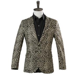 Seksi Leopard Erkek Blazers Blazer Erkekler Sahne Ceket Bahar Bir Düğme Dans Sahne Kostüm yazdır leopard