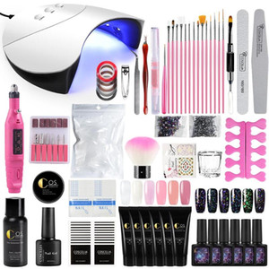 COSCELIA Poly Gel Vernis à ongles Ensemble complet manucure avec 36W UV Led lampe Drill Nail machine brosse Soak Off Art Kit Outils