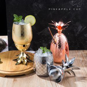 Ananas Cocktail Coupe Moscow Mule tasses en acier inoxydable vin Tasses en verre Tasse Originalité Cuivre Métal Cadeau Tumbler LJJA3302-1