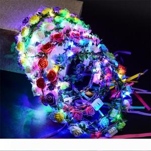 A Led Rose Headband 8 Flowers 10 Lamp Simulação Artificial espuma noiva Falso Coroa da flor do casamento Estética Faixa de Cabelo Ornamentos