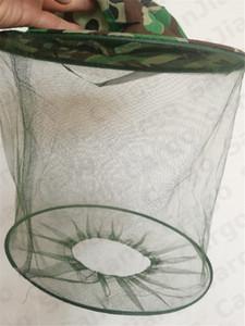 Camouflage Apicoltura Apicoltore anti-zanzara ape insetto volare Maschera protezione del cappello con la testa della maglia della rete di protezione del lato Sunhat Pesca Cap E31004