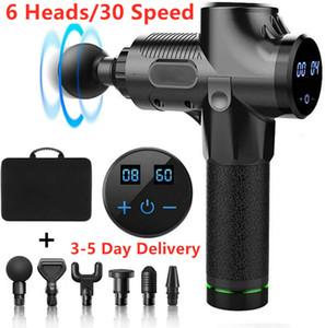 30 Gear 6 Heads Portable Massage Gun Muscle Massager Gun Body Relax US STOCK